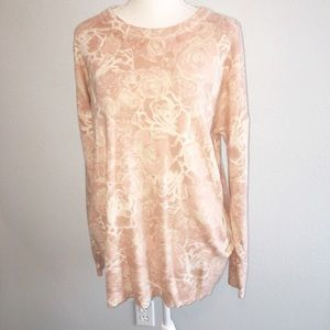 Forever 21 Rose Floral Sweater w/Pockets Large